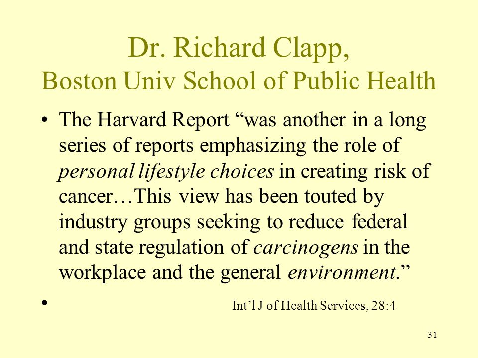 Dr. Richard Clapp, Boston Univ School of Public Health