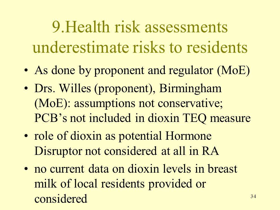 9.Health risk assessments underestimate risks to residents
