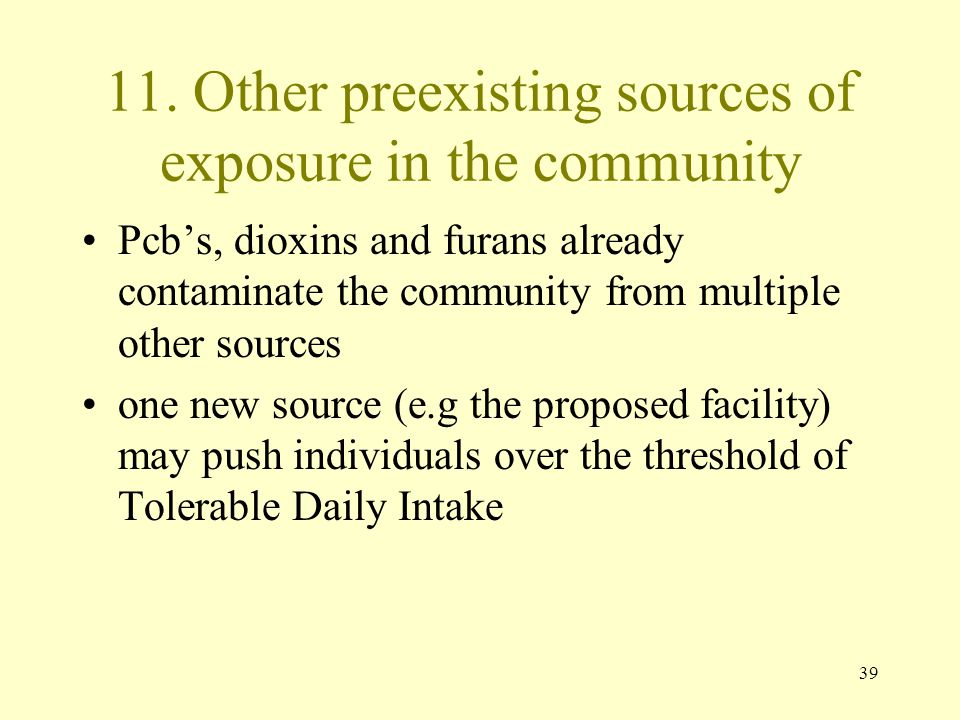 11. Other preexisting sources of exposure in the community