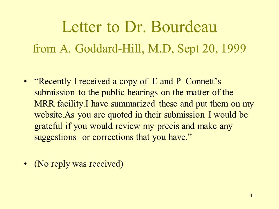 Letter to Dr. Bourdeau from A. Goddard-Hill, M.D, Sept 20, 1999