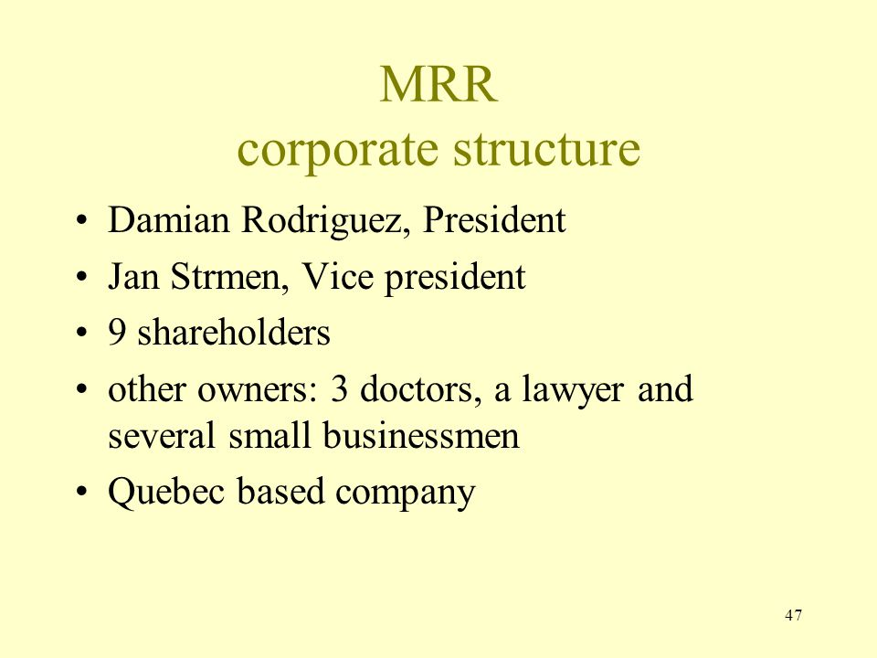 MRR corporate structure