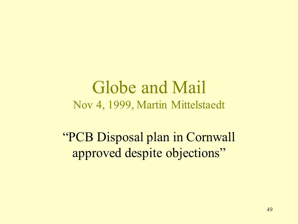 Globe and Mail Nov 4, 1999, Martin Mittelstaedt