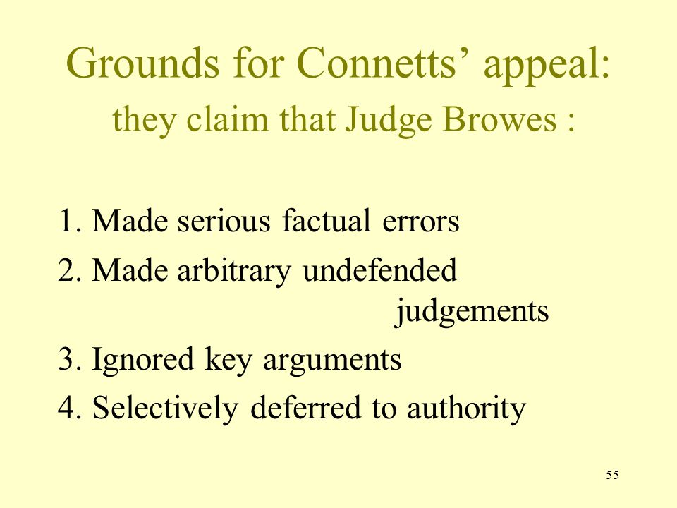 Grounds for Connetts' appeal: they claim that Judge Browes :