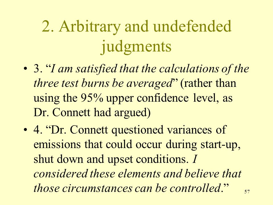 2. Arbitrary and undefended judgments