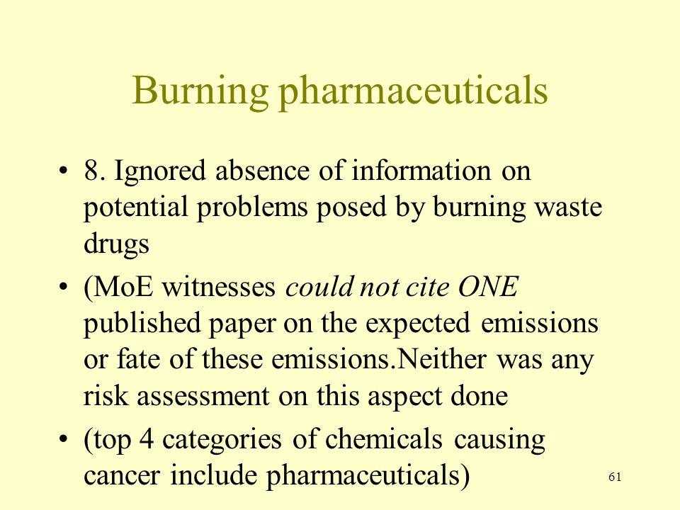 Burning pharmaceuticals
