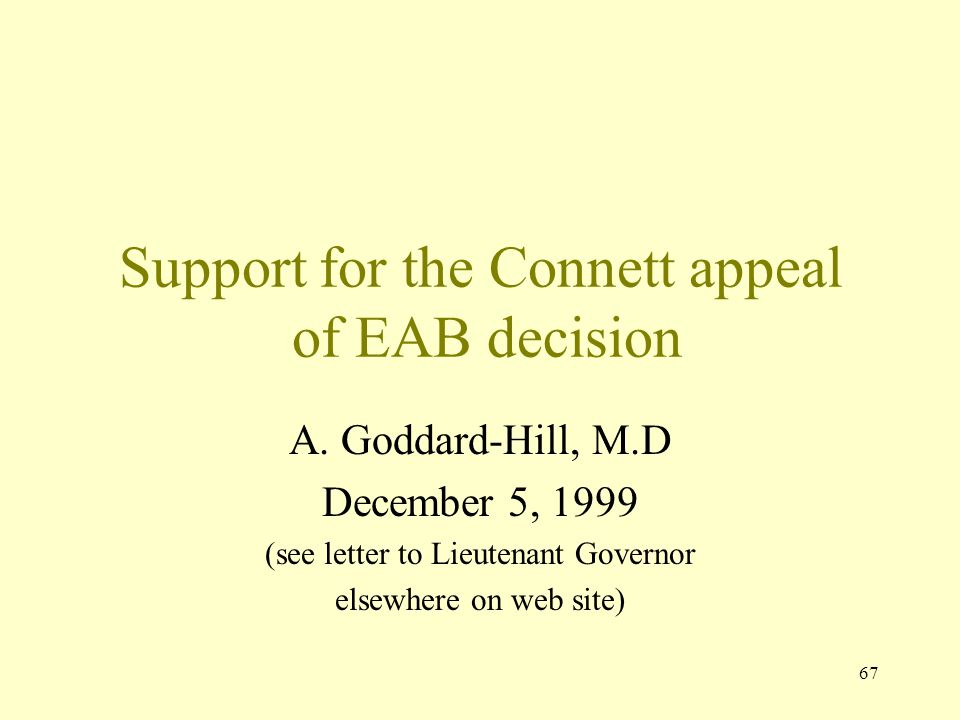 Support for the Connett appeal of EAB decision