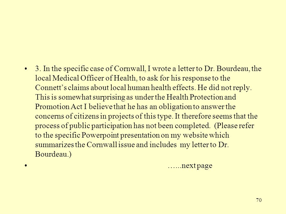 3. In the specific case of Cornwall, I wrote a letter to Dr