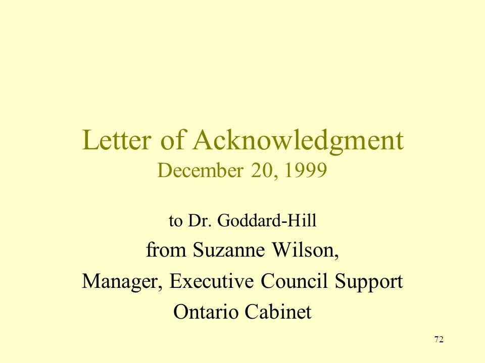 Letter of Acknowledgment December 20, 1999