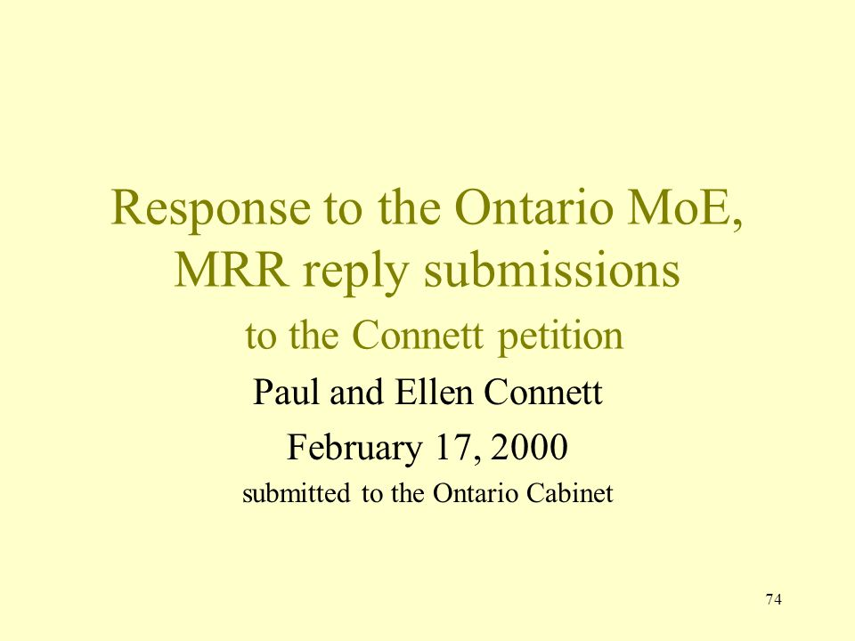 submitted to the Ontario Cabinet