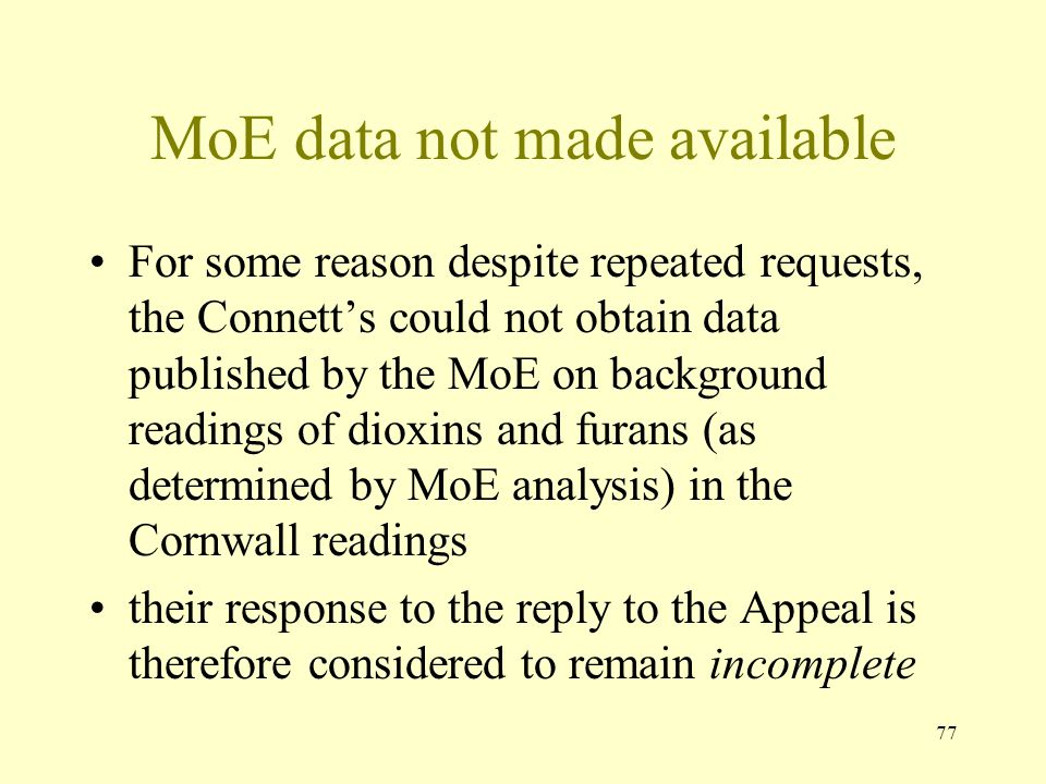 MoE data not made available