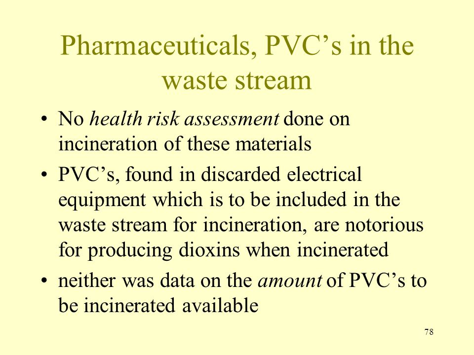 Pharmaceuticals, PVC's in the waste stream