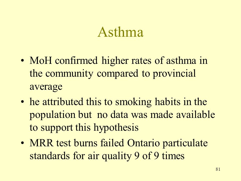 Asthma MoH confirmed higher rates of asthma in the community compared to provincial average.