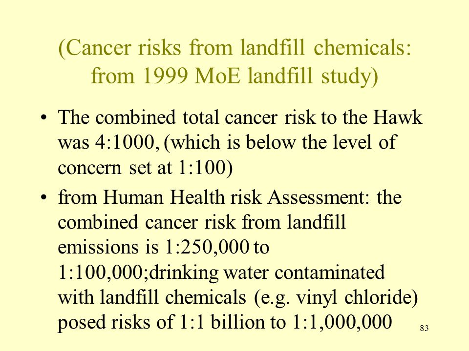 (Cancer risks from landfill chemicals: from 1999 MoE landfill study)