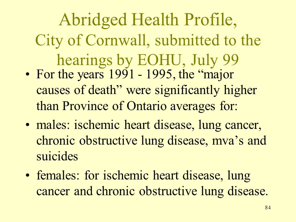 Abridged Health Profile, City of Cornwall, submitted to the hearings by EOHU, July 99