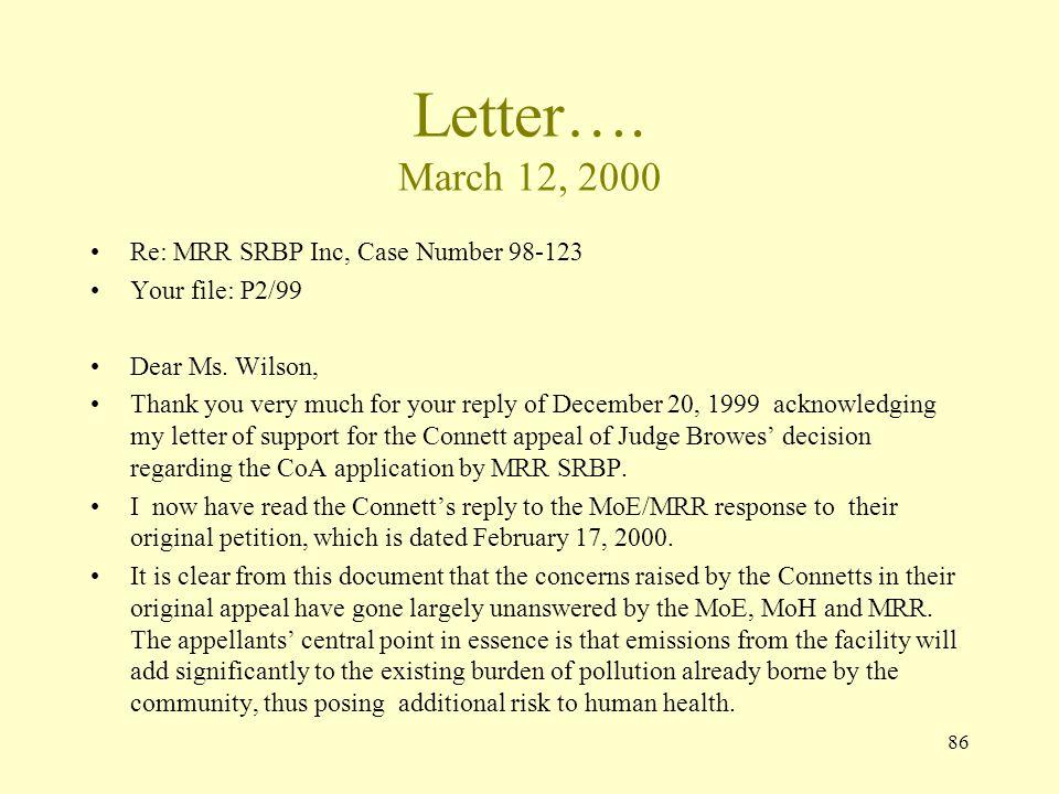 Letter…. March 12, 2000 Re: MRR SRBP Inc, Case Number 98-123