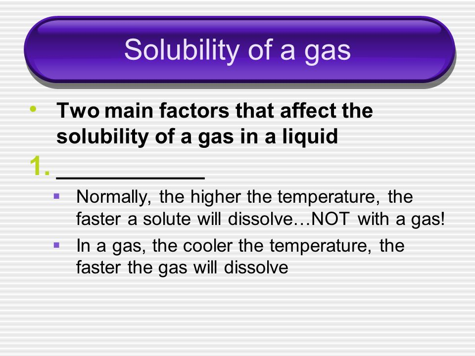 Solubility of a gas ____________