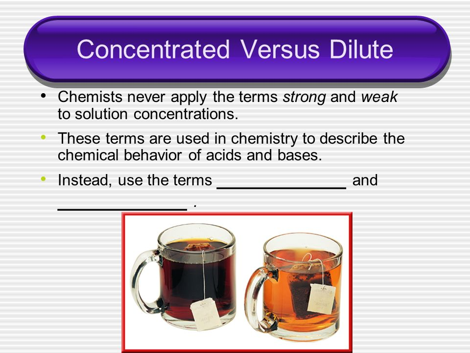 Concentrated Versus Dilute