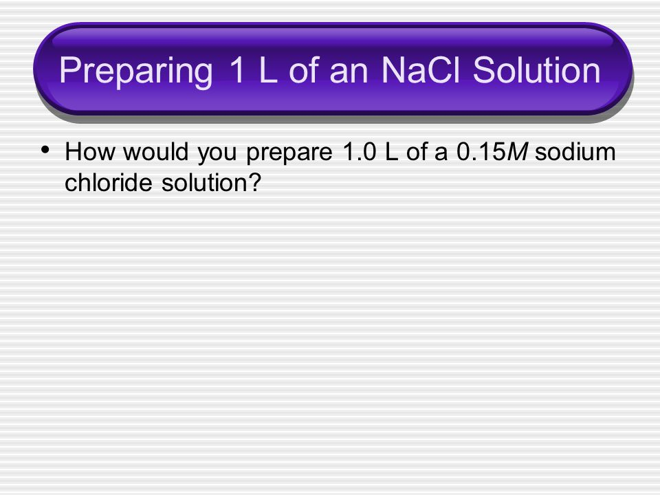 Preparing 1 L of an NaCl Solution