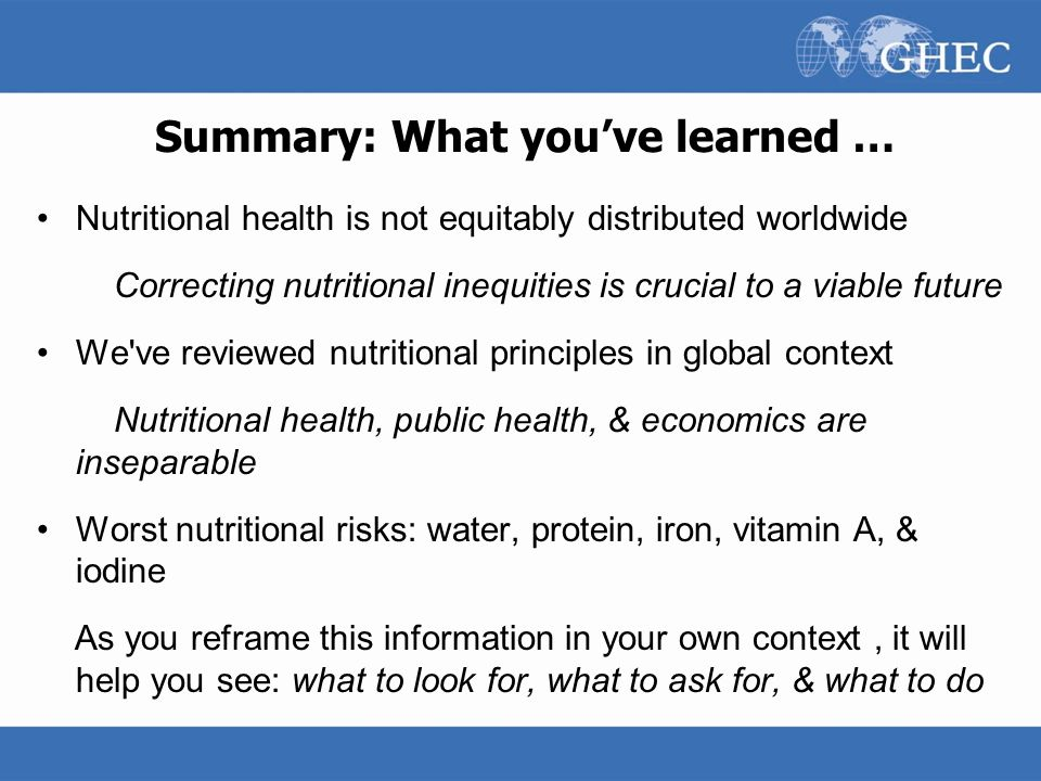 Summary: What you've learned …