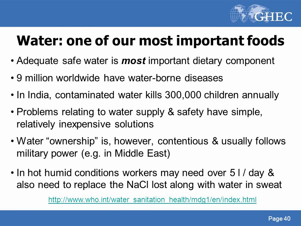 Water: one of our most important foods