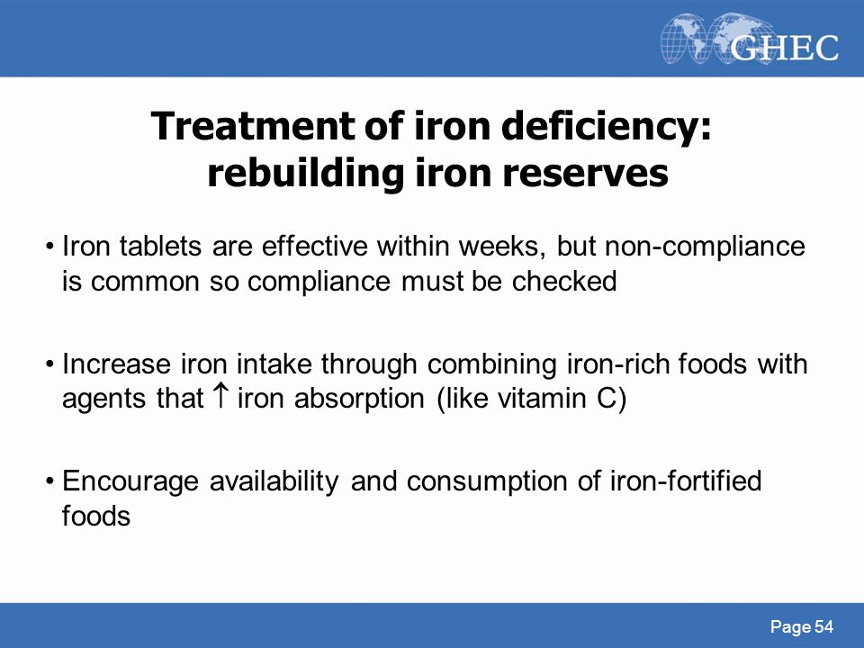 Treatment of iron deficiency: rebuilding iron reserves