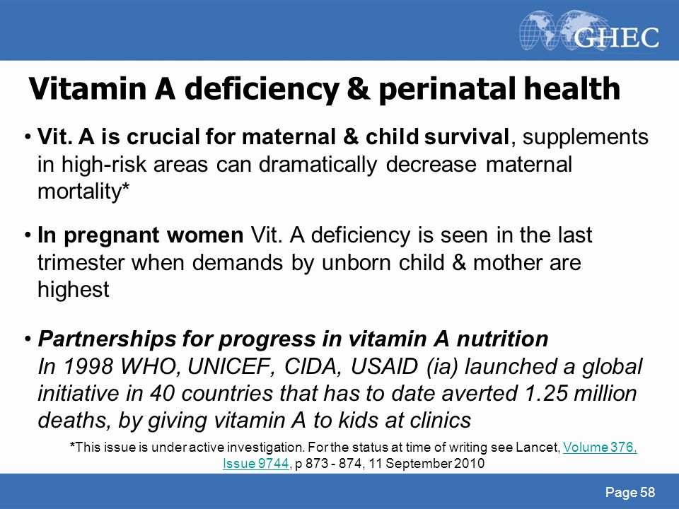 Vitamin A deficiency & perinatal health