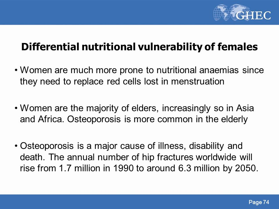 Differential nutritional vulnerability of females