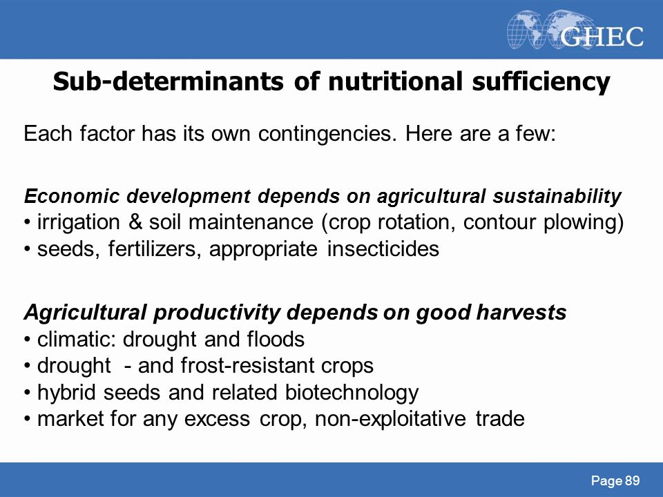 Sub-determinants of nutritional sufficiency