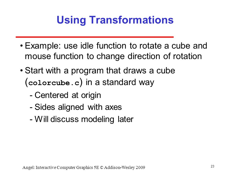 Using Transformations