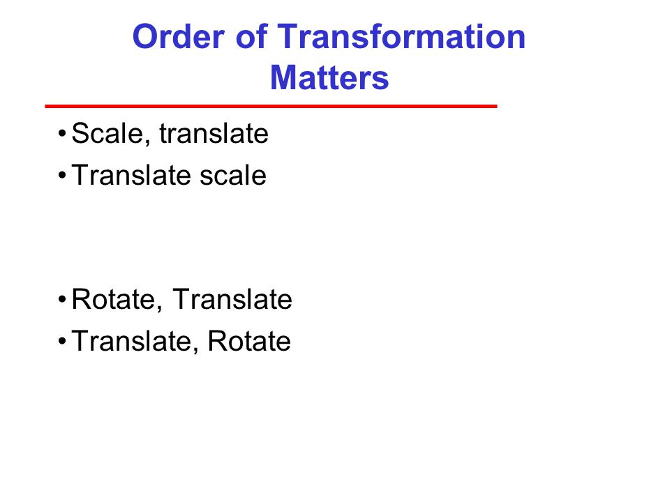 Order of Transformation Matters