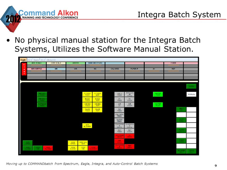 Integra Batch System No physical manual station for the Integra Batch Systems, Utilizes the Software Manual Station.