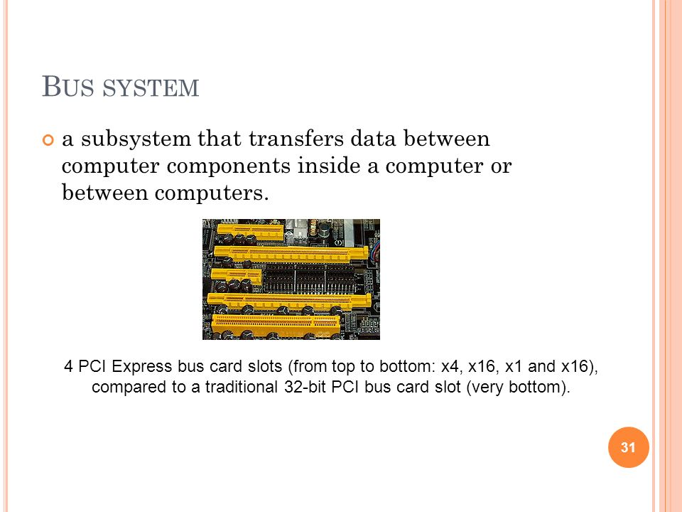 compared to a traditional 32-bit PCI bus card slot (very bottom).