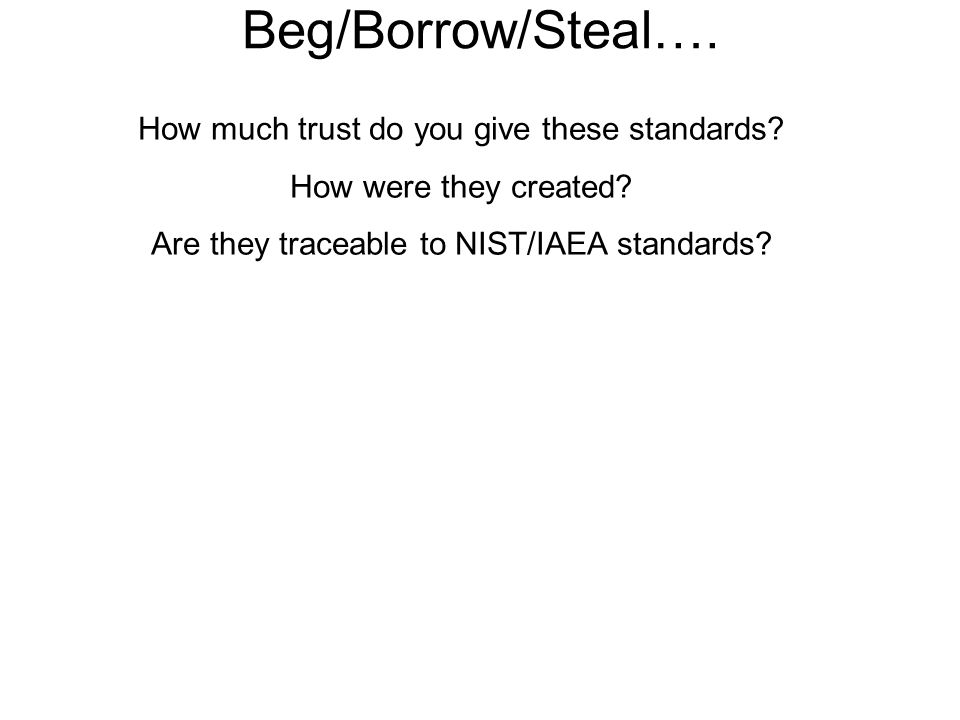 Beg/Borrow/Steal…. How much trust do you give these standards