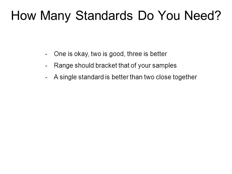 How Many Standards Do You Need