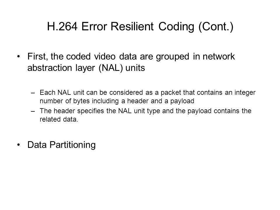 H.264 Error Resilient Coding (Cont.)