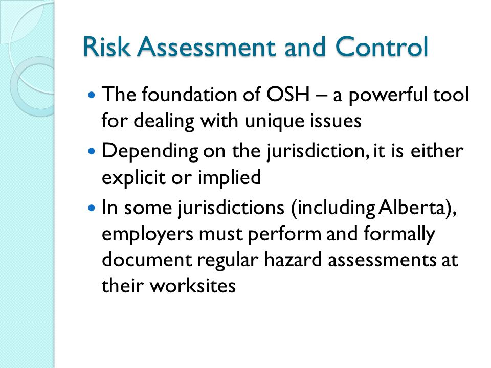 Risk Assessment and Control