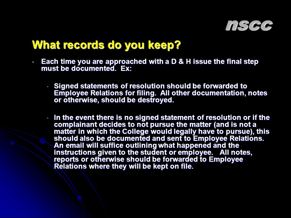 nscc What records do you keep