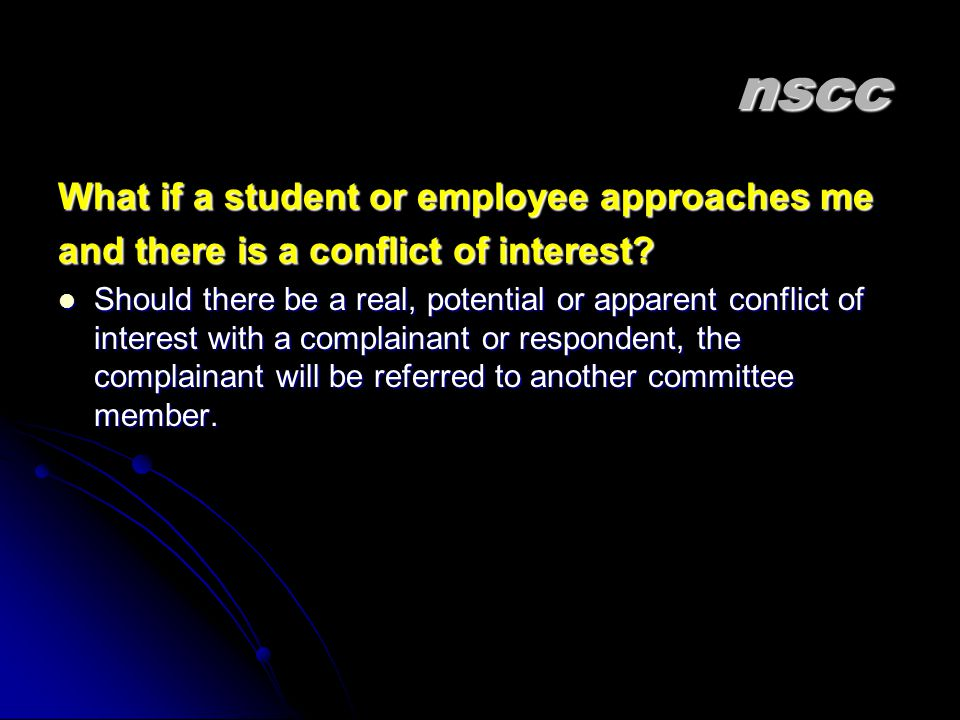 nscc What if a student or employee approaches me
