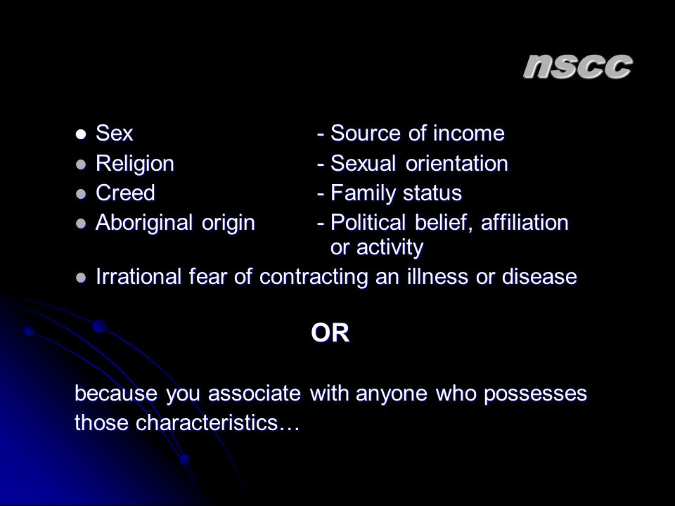 nscc OR Sex - Source of income Religion - Sexual orientation