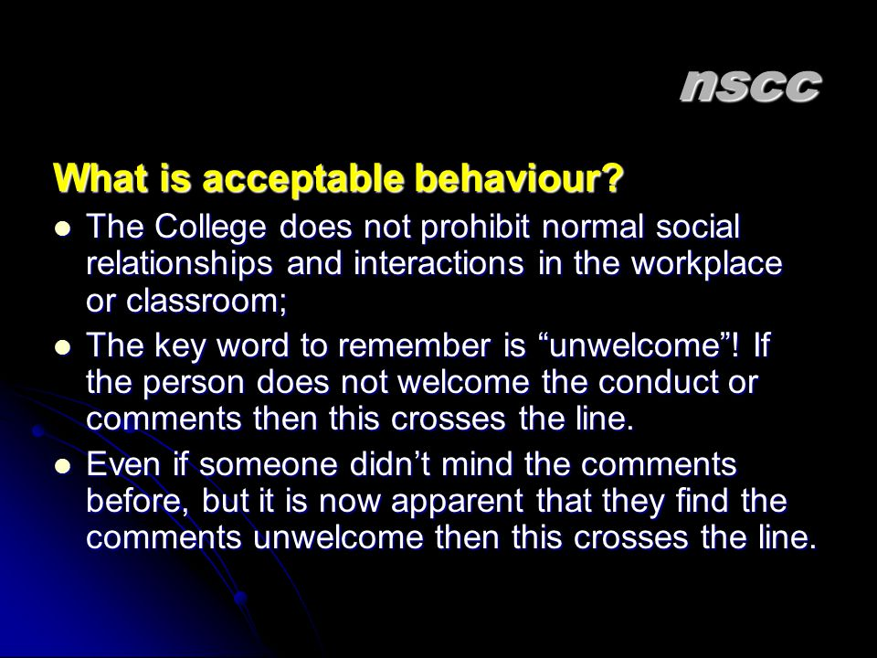 nscc What is acceptable behaviour