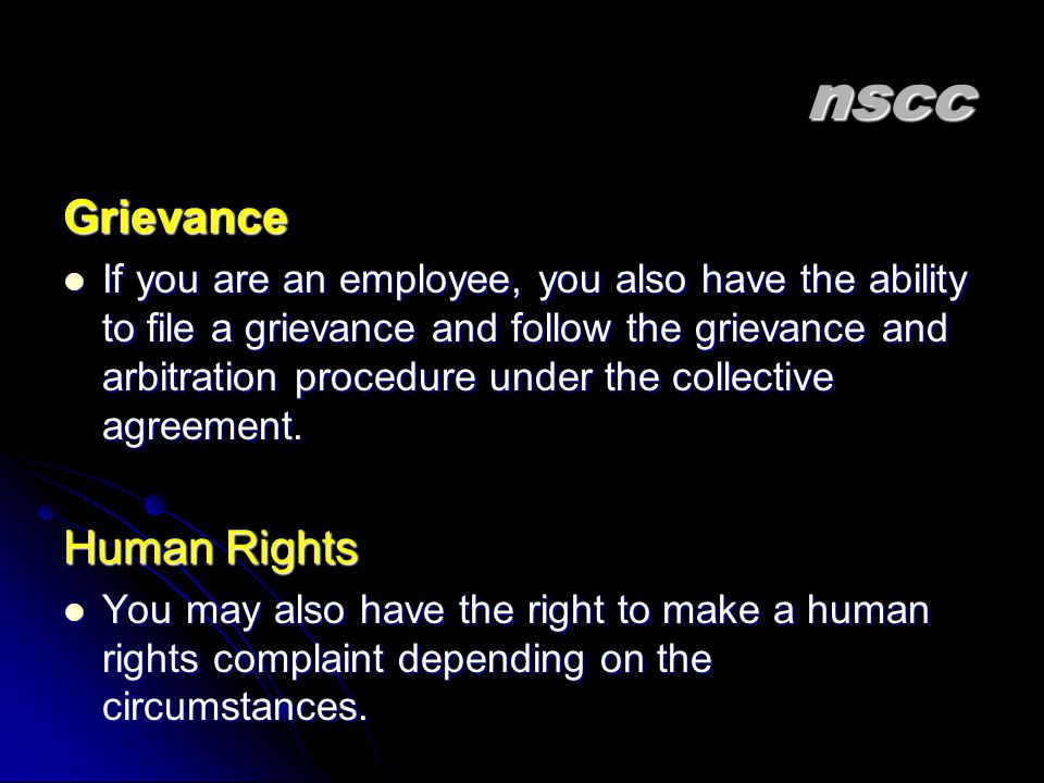 nscc Grievance Human Rights