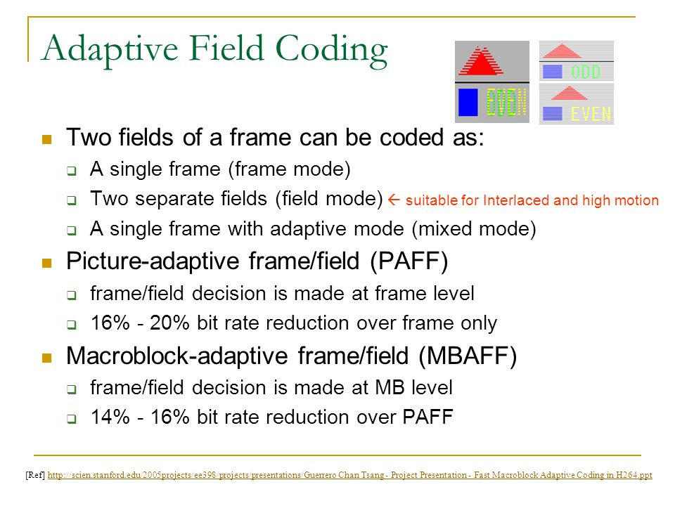 Adaptive Field Coding Two fields of a frame can be coded as: