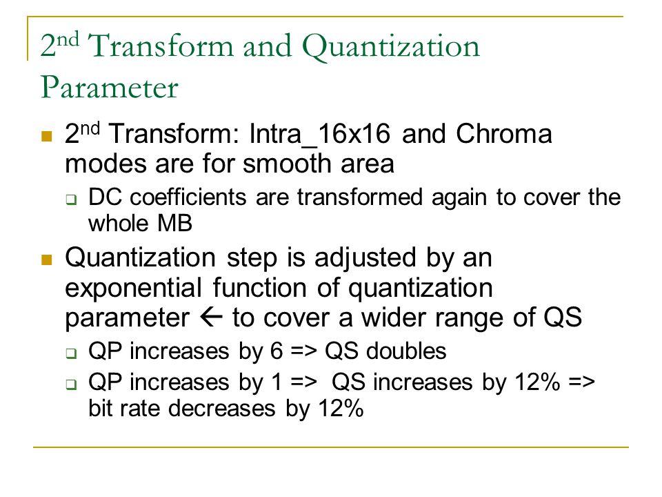 2nd Transform and Quantization Parameter
