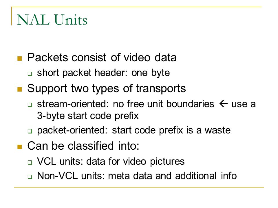 NAL Units Packets consist of video data