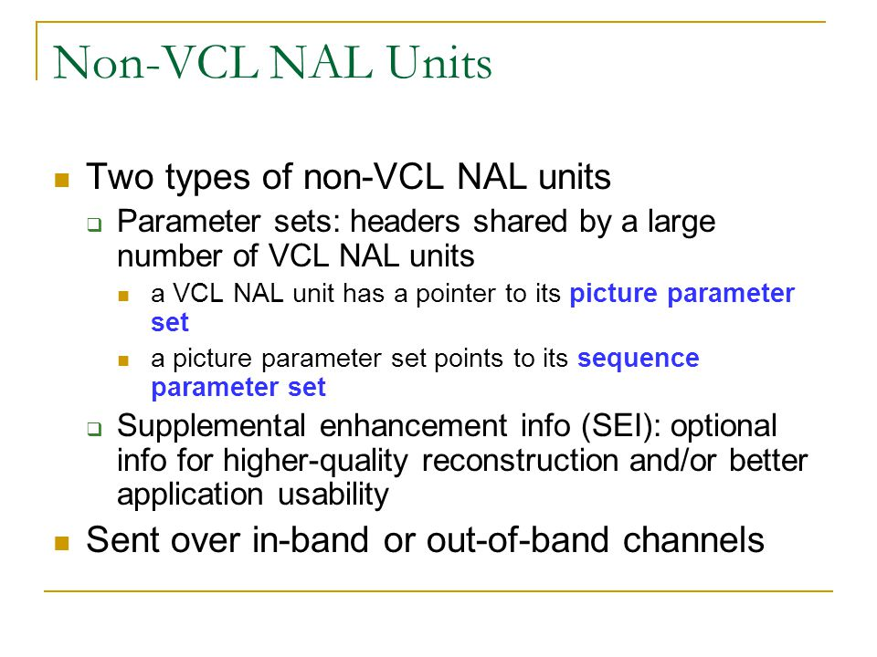 Non-VCL NAL Units Two types of non-VCL NAL units