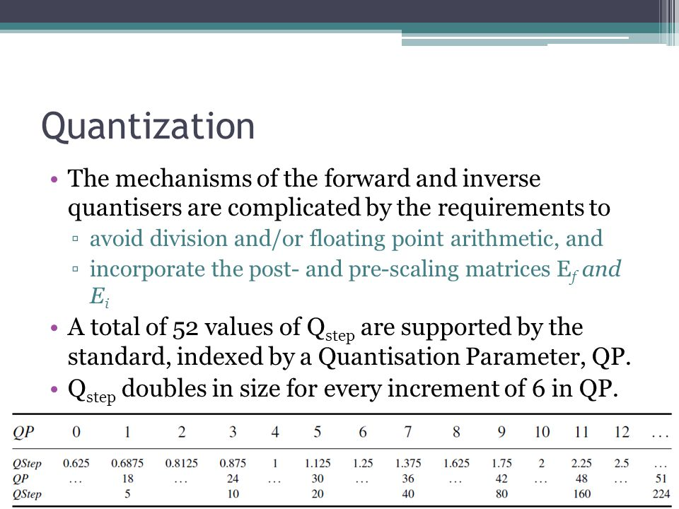 Quantization The mechanisms of the forward and inverse quantisers are complicated by the requirements to.