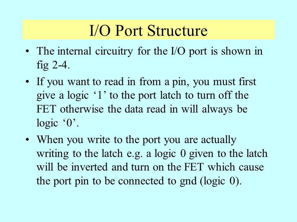 I/O Port Structure The internal circuitry for the I/O port is shown in fig 2-4.