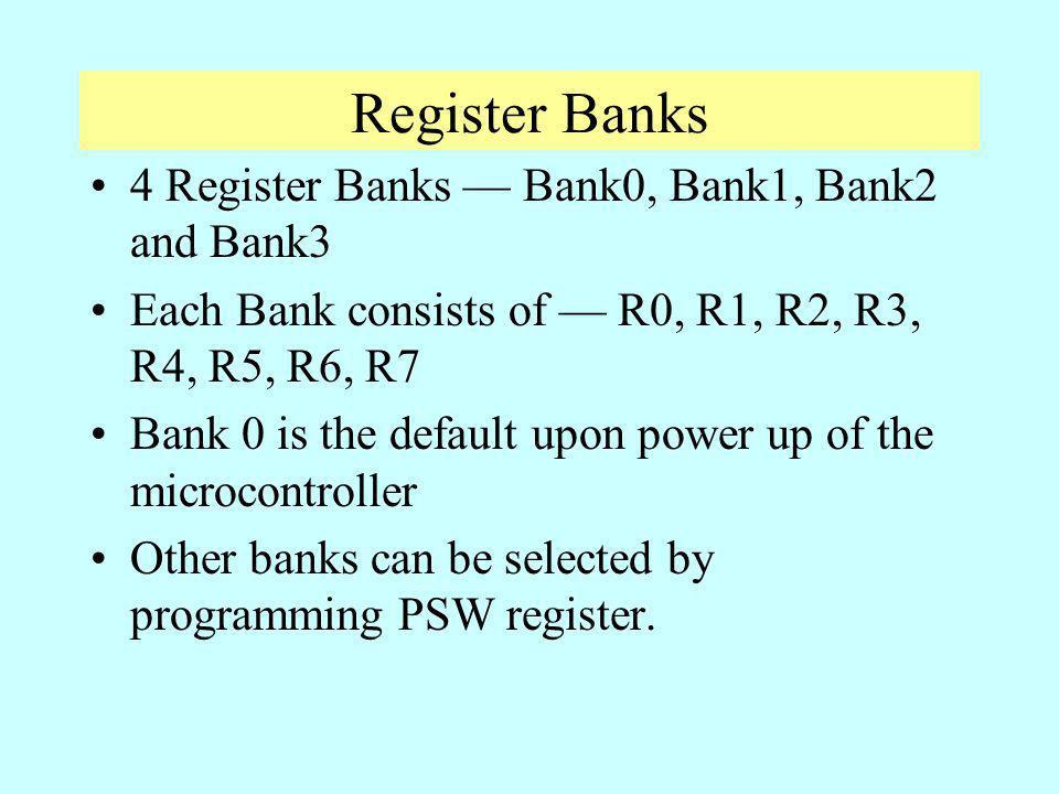 Register Banks 4 Register Banks — Bank0, Bank1, Bank2 and Bank3