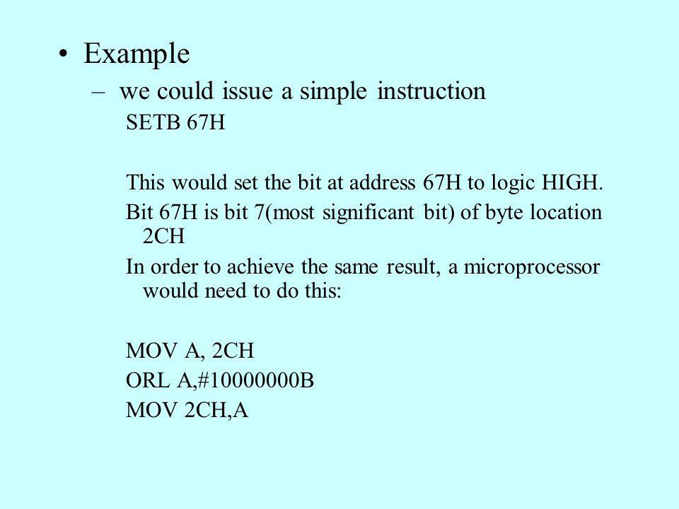 Example we could issue a simple instruction SETB 67H