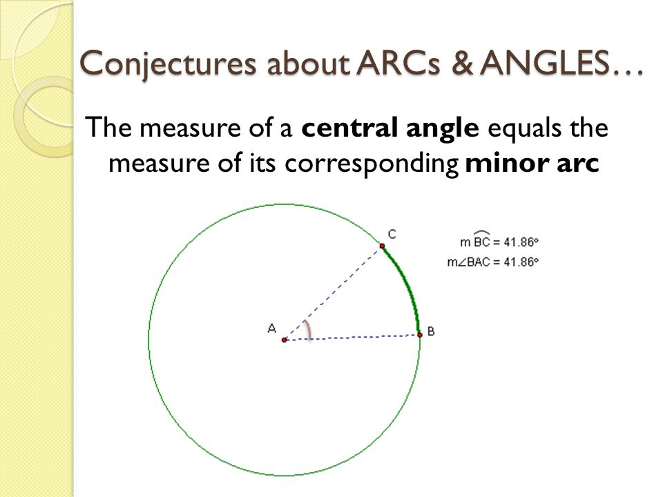 Conjectures about ARCs & ANGLES…
